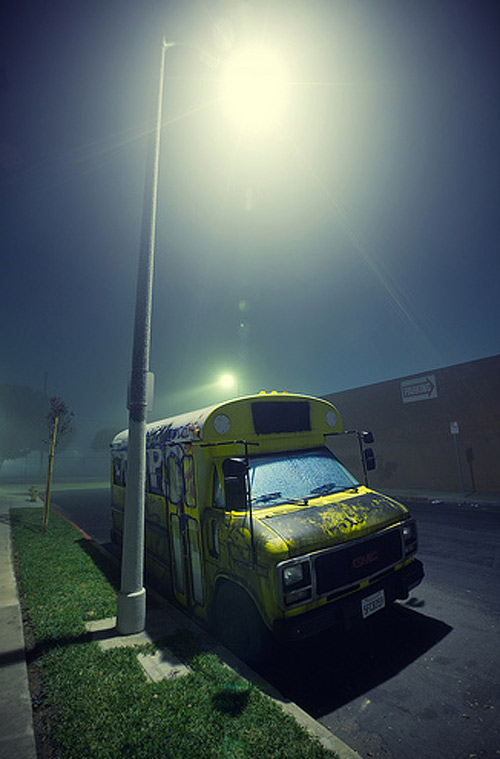 bus fog night photography