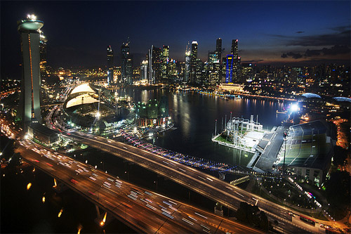 nightlife aerial photography