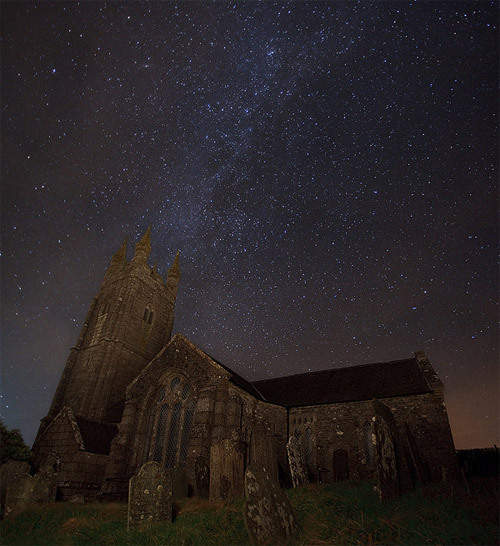 church and stars night photography