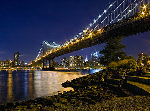 manhattan bridge night photography
