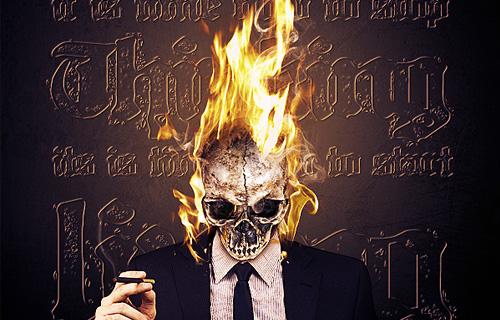 vivid flaming skull