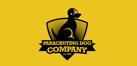 parachuting dog logo