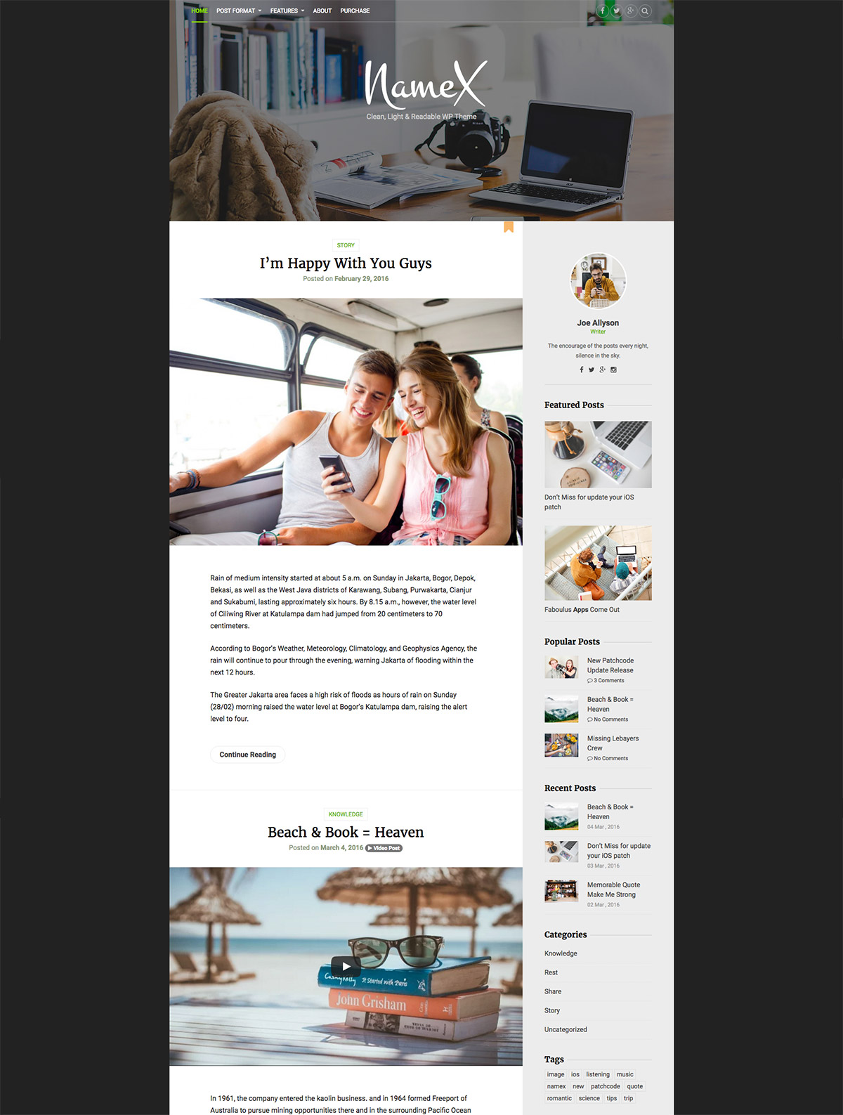 light minimal wordpress