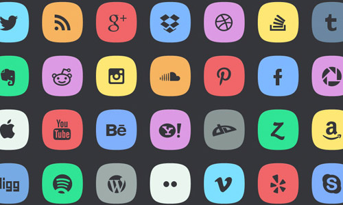 abstract media social icons