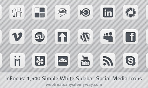 white social sites icons
