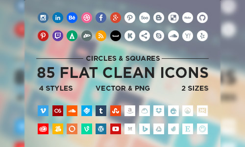flat free social icons
