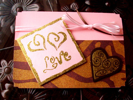 Popup Bronze and Gold Valentine's Day Card