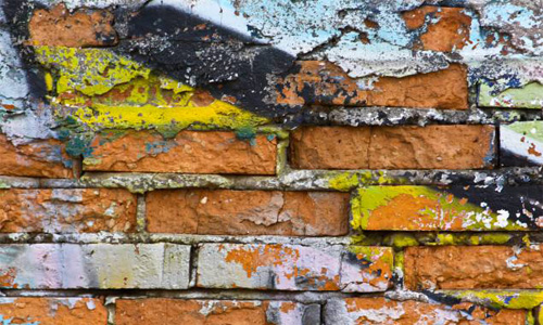 Brick Damaged Graffiti Grunge Paint Plaster Spray Wall