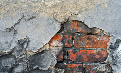 Brick Cracked Damaged Dirty Grunge Old Plaster Wall