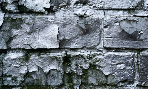 Brick Close-Up Dirty Grunge Metallic Paint Peeling Shiny Silver Spray Wall