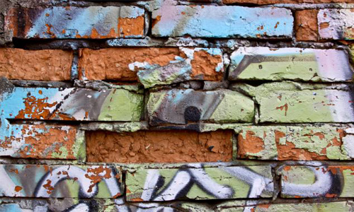 Brick Damaged Graffiti Grunge Peeling Spray Wall