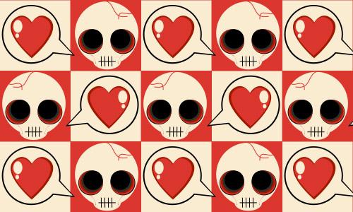 skull heart pattern
