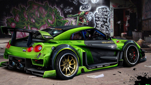 Green Car with Graffiti