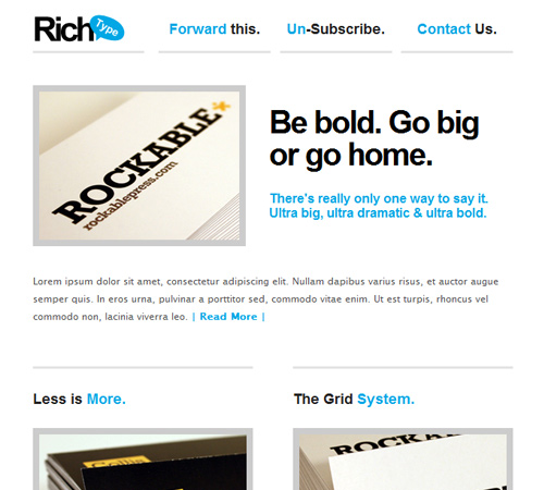 rich typography email templatd