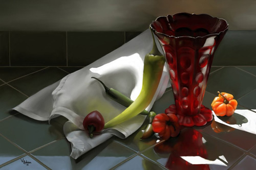 Really Nice Spring Light With Peppers Digital Still Life Artwork