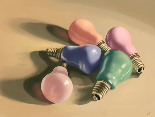 very colorful bulbs digital still life
