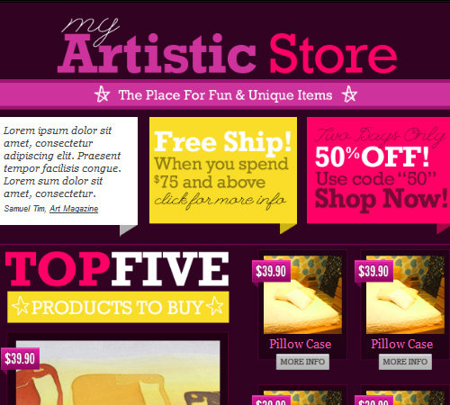 artistic store html email template