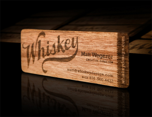 Whiskey Design's Wood Business Card