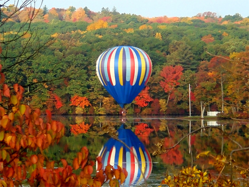 Balloon Skimming Lake Ripple