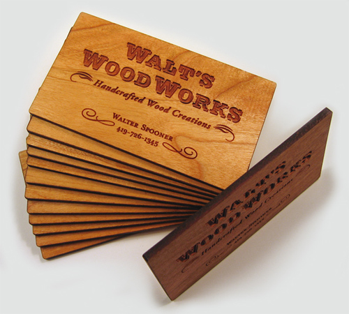 Laser Engraved, Cherry Wood Business Cards