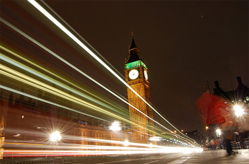 Traffic on Westminster Bridge long exposure photography