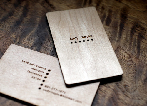 Cody Maple 'Maple Wood' Business Cards