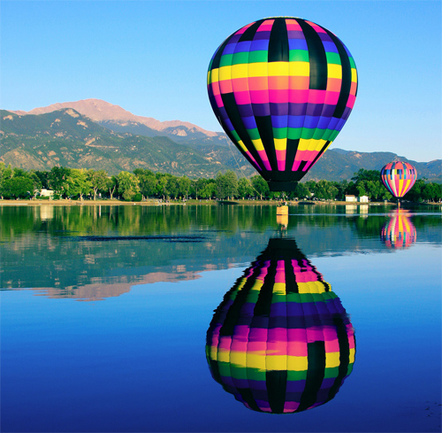 Pikes Peak Reflections of the Colorado Balloon Classic on Prospect Lake, Memorial Park