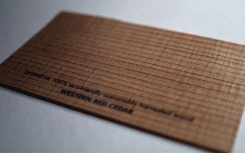 Wood Business Cards - Western Red Cedar