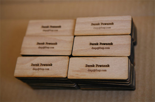 Derek Powazek Minimal Wood Business Cards