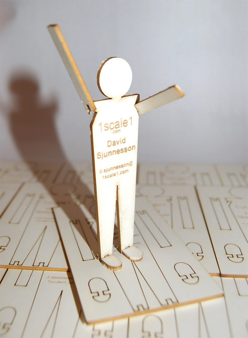 1scale1 Stick Figure Wood Business Cards