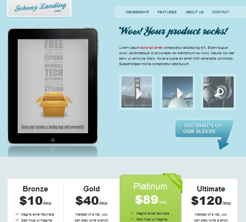 Johnny landing page