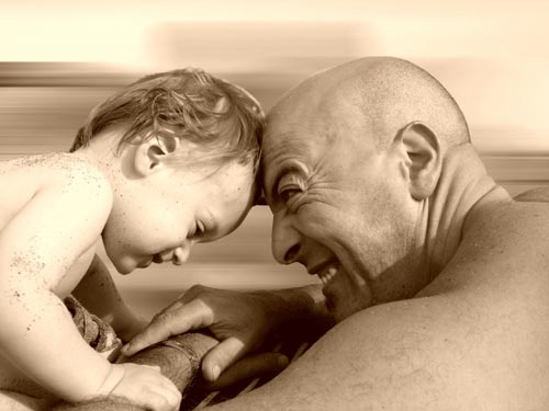 Charming and Cute Father and Child Photo