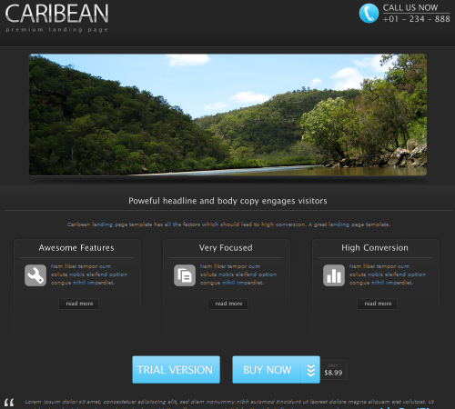 caribean premium landing page