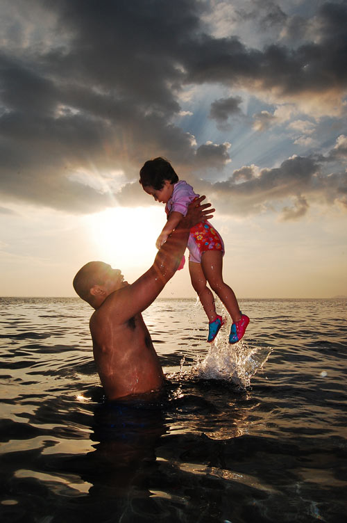 Bonding Moments Father and Child Photo