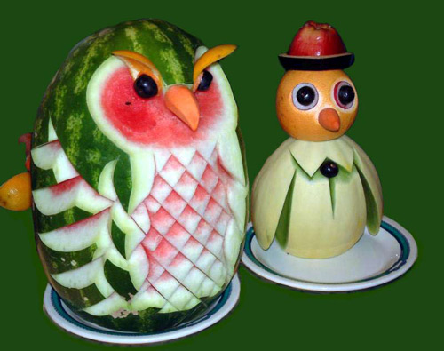 Yummy Owl and Penguin on Fruits