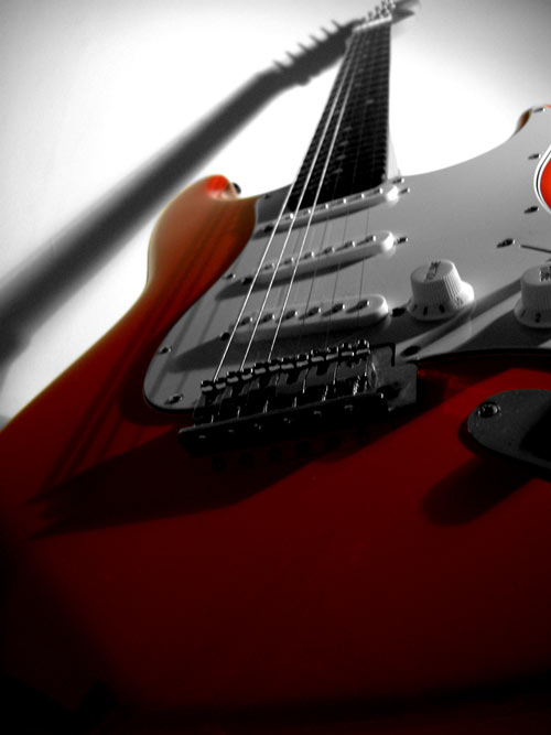Perfect Angle for a Red Guitar Photo