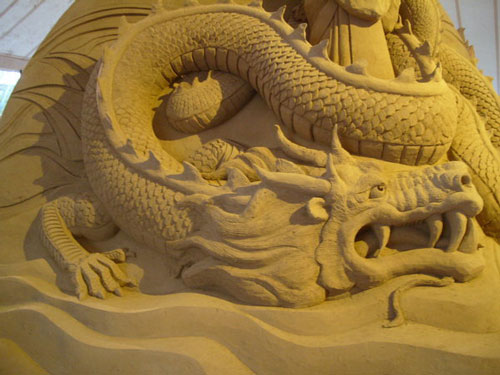 Attractive Dragon Sand Scuplture