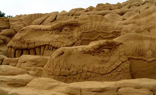 Hushed Dragons in Sand Sculpture