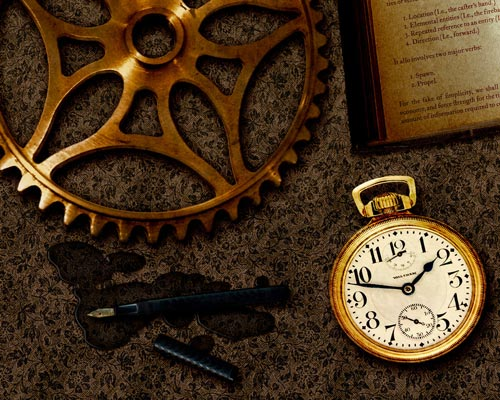 On Time Steampunk Wallpaper