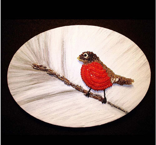 Irrestibly Robin In Snow Bead Art