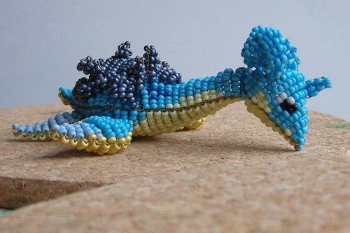 Expressive Blue Turtle Bead Art