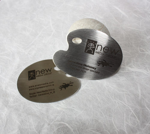 Uniquely Shaped Metallic Business Card