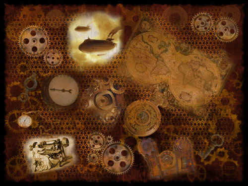 In Collage Steampunk Wallpaper