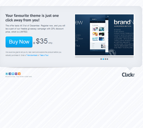 clickr landing page