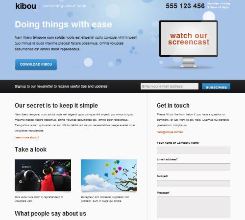 kibou landing page
