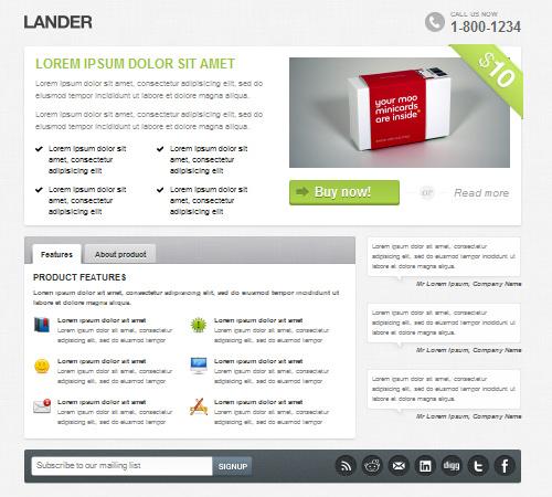 lander premium landing page