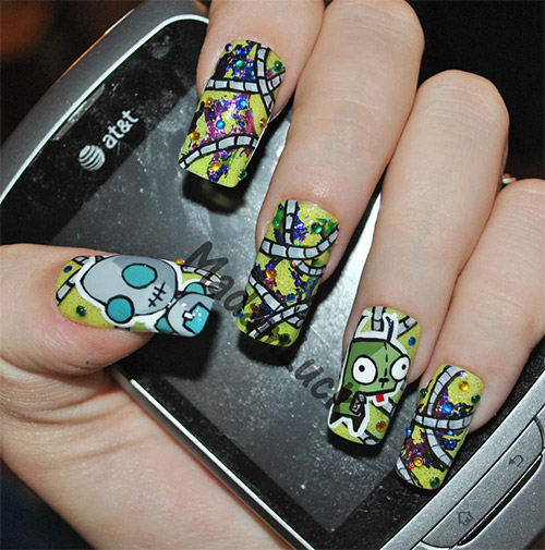gir and zim nail art