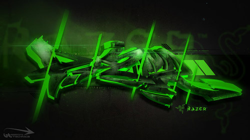 Shining Green graffiti wallpaper