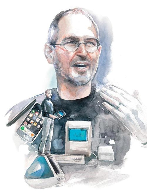 Steve Jobs Illustration with Gadgets
