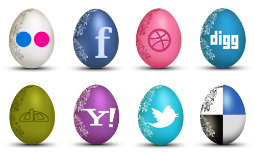 FREE Set of Egg-Shaped Social Icons